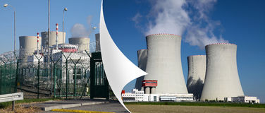 Centrale nucléaire Temelin dans la République Tchèque l'Europe, coin de la page Photographie stock