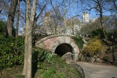 Centrale parkbrug in de Lente stock foto's