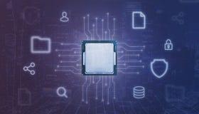Centrale proceseenheid cpu en elektronische die kring met online de dienstenpictogram wordt omringd royalty-vrije stock foto