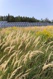 Centrale solaire sur le pré fleurissant d'été Image libre de droits