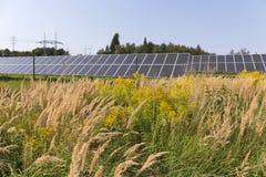 Centrale solaire sur le pré fleurissant d'été Photos stock