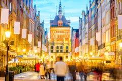 Centrale straat in Gdansk Royalty-vrije Stock Afbeeldingen