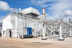 Centrale a turbogas Complesso industriale Rete di tubazioni fotografia stock libera da diritti