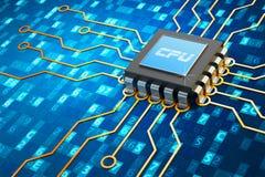 Centrale verwerkingseenheid en computertechnologieconcept Royalty-vrije Stock Afbeeldingen