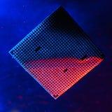 Centrale verwerkingseenheid onder water, cpu, blauw en rood licht, onder water technologie van cyber-elektronisch concept Technol royalty-vrije stock foto's