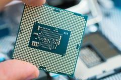 Centralenheten CPU kontaktar tätt upp skott royaltyfria foton