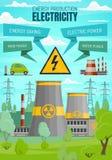 Centrales de l'électricité, sources renouvelables illustration de vecteur