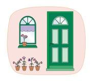 Centrales et trappe verte illustration stock