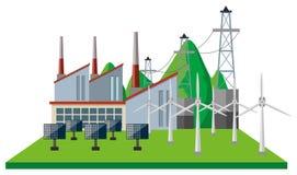 Centrales et turbines de vent dans le domaine illustration de vecteur