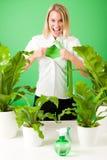 Centrales folles d'affaires de femme vert de superhero Image stock