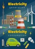 Centrales, turbine de vent, voiture électrique, fil illustration de vecteur