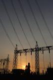 Centrali elettriche di stile della siluetta Immagini Stock Libere da Diritti