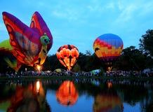 Centralia Illinois Balloon Festival. Hot air balloons around a lake in  Centralia, Illinois Royalty Free Stock Photo