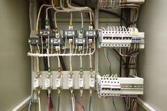 Centralino elettrico, cavo, tavola calda Schermo elettrico fotografia stock