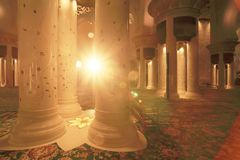 Centrall hall of Mosque in sunlight Stock Photo