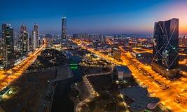 Centralpark przy nocą Incheon, Południowy Korea Obraz Stock