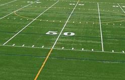 Centralt fotbollfält royaltyfria foton