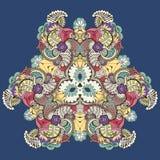 Centralt lokaliserad blom- prydnad vektor illustrationer