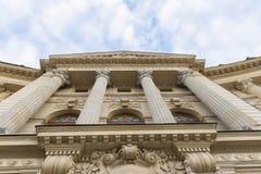Centralt universitetarkiv av den Bucharest fasaden Royaltyfria Foton