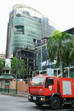 Centralworld building burned. Centralworld building, secong largest shopping mall in asia, completely burned . red shirt protesters, who support fugitive ex Royalty Free Stock Photos
