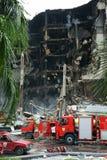 Centralworld Gebäude gebrannt. Stockfoto