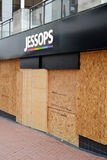Centre of Birmingham-England Riots 2011-Jessops. Jessops camera shop boarded up due to the damage the shop sustained in the 2011 England riots. The picture was Stock Image