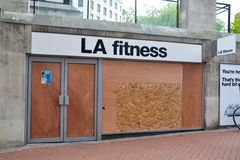 Centre of Birmingham-England Riots 2011-LA fitness Stock Photos