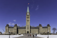Centre block of the Canadian parliament Stock Photos