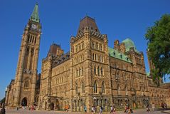 This is Centre Block which is the main building of the Canadian parliamentary complex on Parliament Hill, Ottawa, Ontario, Canada royalty free stock image