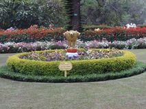 Centre of the botinacal garden awesome view with national amblem. This snap is from botanical rose garden ooty, india. Awesome view of all flowers that you may Royalty Free Stock Images