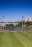 Centre Circle Of Soccer Pitch. The empty center circle of the pitch assigned to Bafana Bafana (South African National Soccer Team). Training open Day at Wits Stock Photo