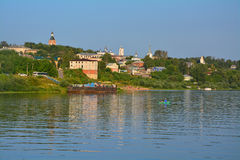 Centre of city and a pier with a beach on Oka river in Kasimov city, Russia Royalty Free Stock Photo