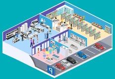 Centre commercial intérieur isométrique, épicerie, ordinateur, ménage, magasin d'équipement illustration de vecteur