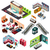 Centre commercial isométrique illustration de vecteur