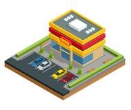 Centre commercial ou magasin isométrique Stationnement et achat dans l'illustration de vecteur de ville illustration stock