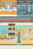 Centre commercial, salles de boutique et magasin de bijoux Collection d'intérieurs de supermarché Les gens dans un mail Achats ré illustration de vecteur