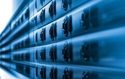 Centre complexe de extraction de blockchain de ferme de cryptocurrency de Bitcoin images libres de droits