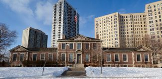 Centre culturel de Chicago dans la neige photographie stock