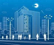 Centre d'affaires, architecture urbaine Les gens marchant à la rue de ville Art de conception de vecteur illustration libre de droits