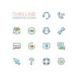 Centre d'aide - ligne simple mince icônes réglées Photo libre de droits