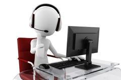 centre d'appels de l'homme 3d prêt à aider Photographie stock libre de droits