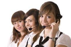 Centre d'attention téléphonique heureux Images libres de droits