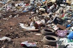 Centre d'enfouissement des déchets de déchets en nature Image stock