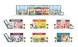 Centre de centre commercial illustration de vecteur