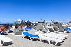 Centre de divertissement Lago Martianez avec des piscines avec de l'eau océanique Photographie stock
