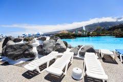 Centre de divertissement Lago Martianez avec des piscines avec de l'eau océanique Photo stock