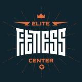 Centre de fitness d'élite - emblème ou logo avec le lettrage original illustration stock