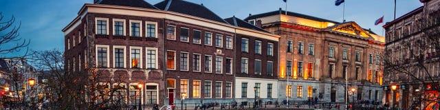 Centre de la ville antique d'Utrecht, Pays-Bas la nuit Images libres de droits