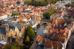 Centre de la ville de Bruges vu d'en haut photos stock