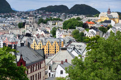 Centre de la ville d'Alesund. La Norvège. Images libres de droits
